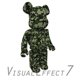 camouflage bearbrick brick 3ds