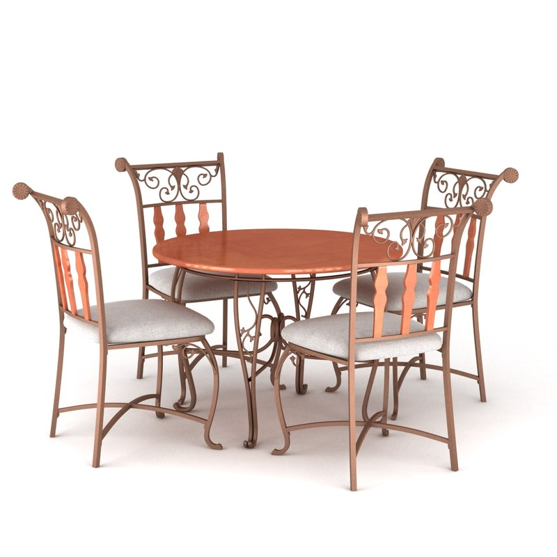 classic dining table chairs 3d model