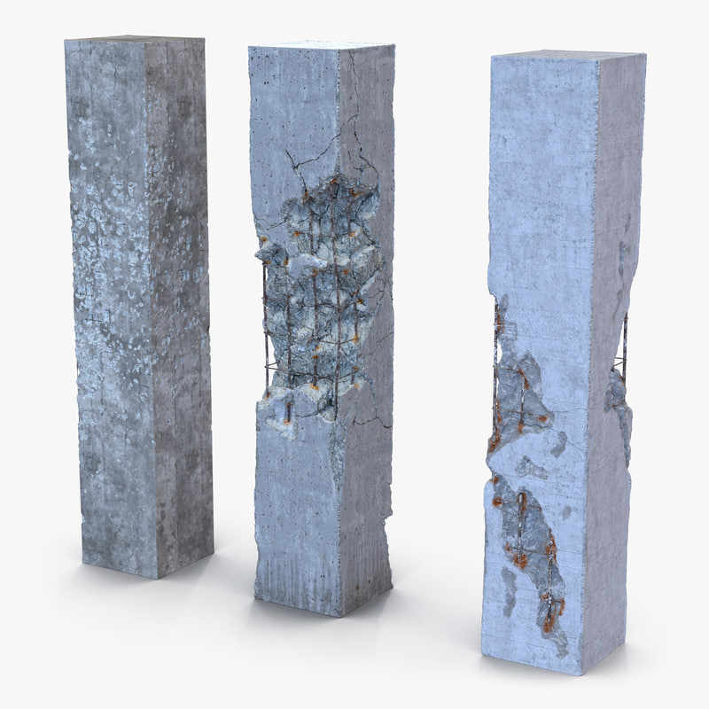 concrete pillars set obj