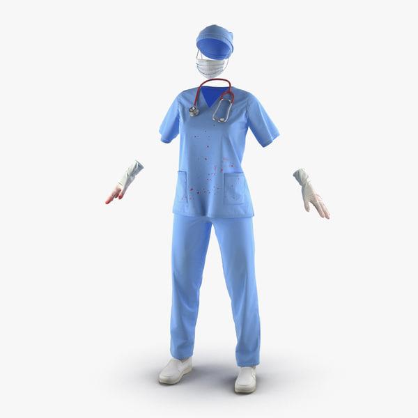 female surgeon dress 15 3d 3ds