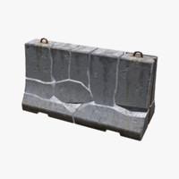 3d broken concrete barrier model