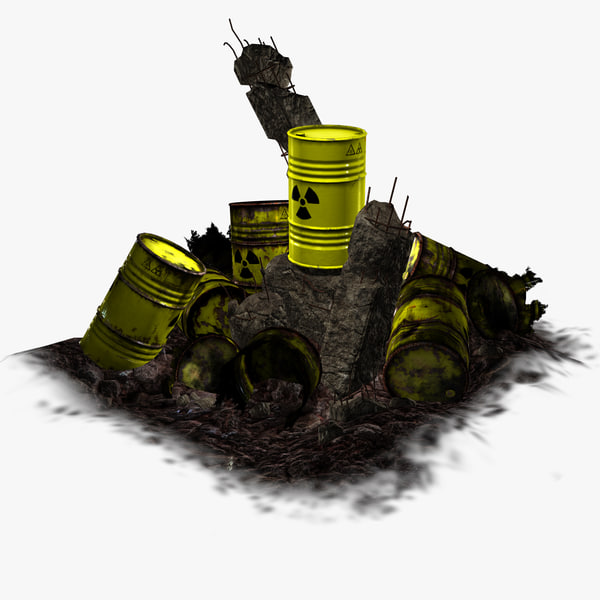 3d barrel radioactive waste -