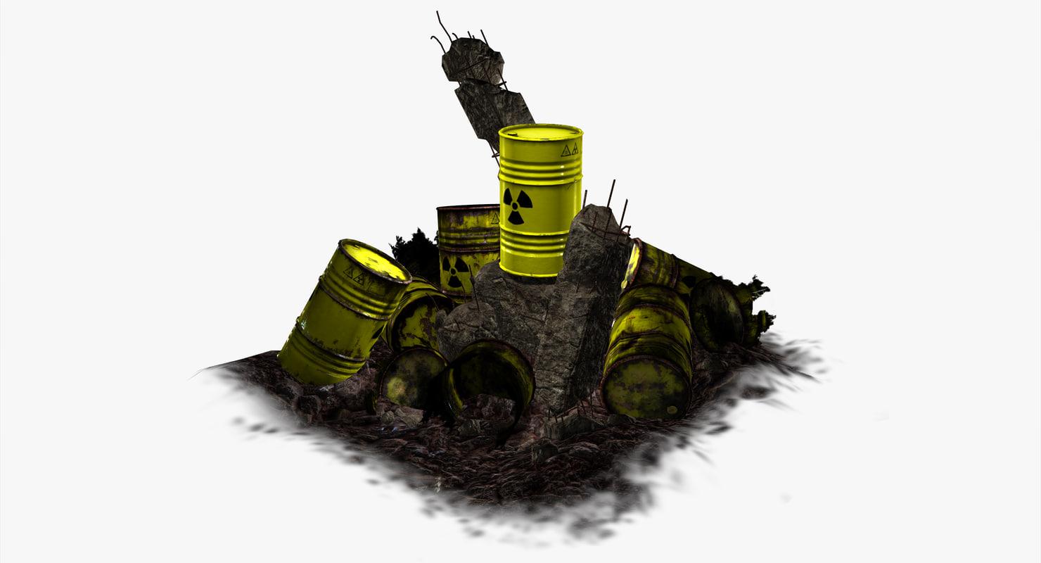 3d barrel radioactive waste -