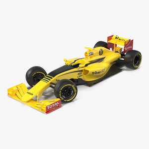 formula car rigged yellow 3d model