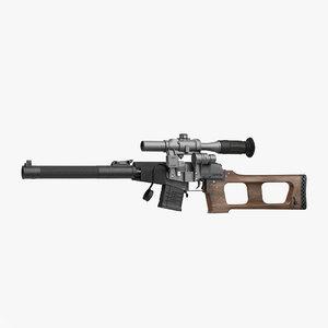 sniper rifle vss vintorez 3d 3ds