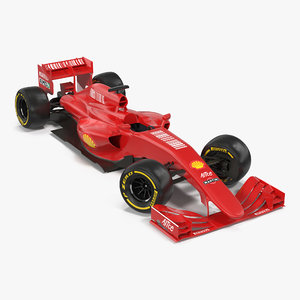 formula car rigged red 3d max