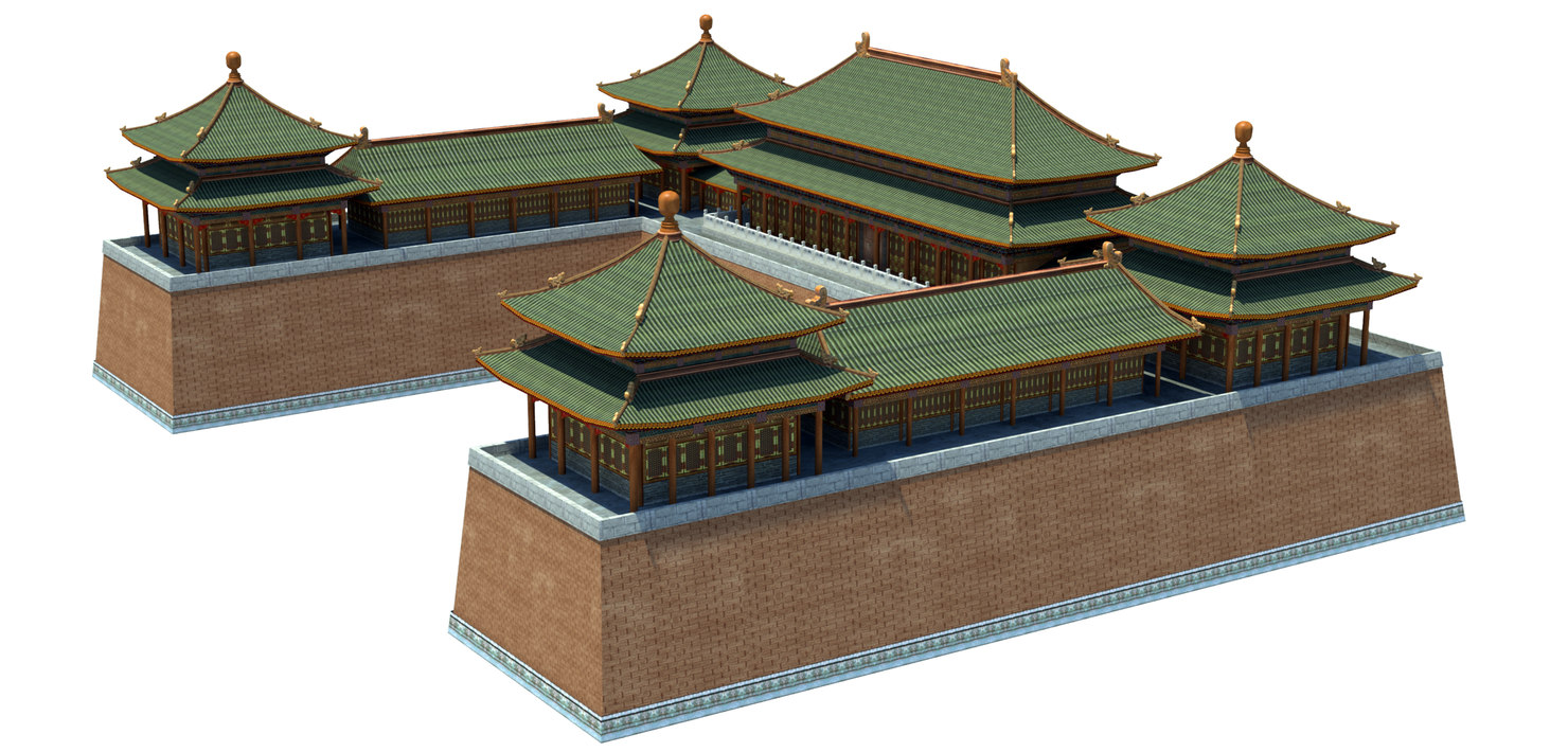 3d model entrance chinese temple