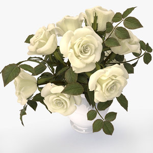 roses white bouquet 3d 3ds