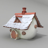 pudding house 3d obj
