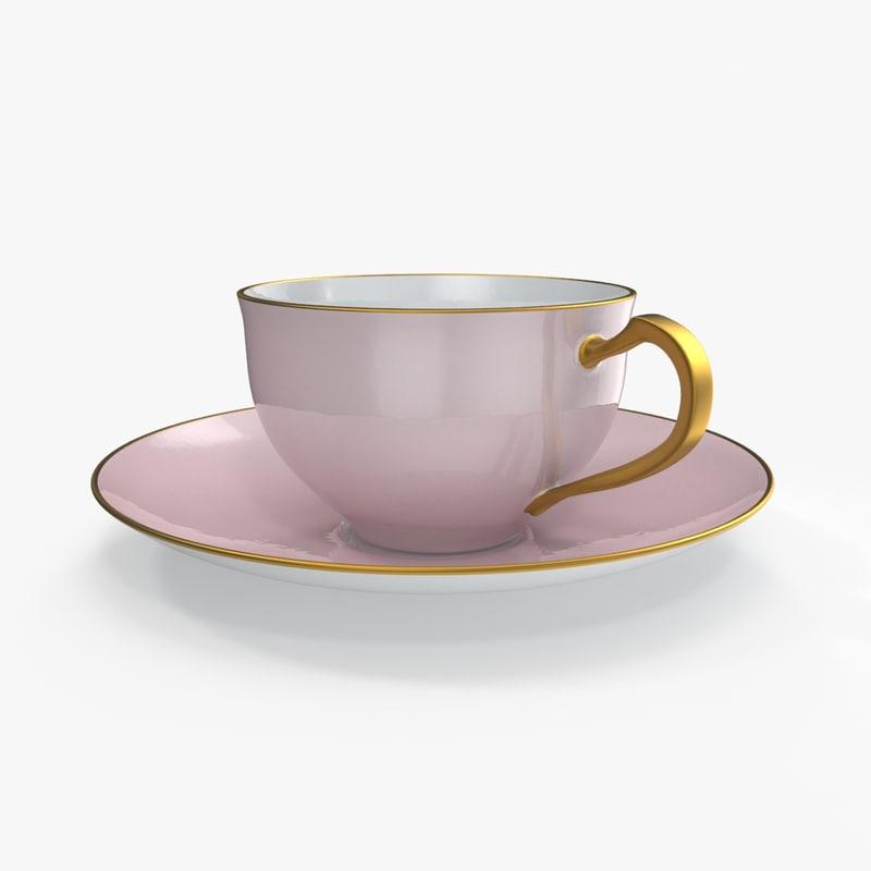 3d tea cup saucer