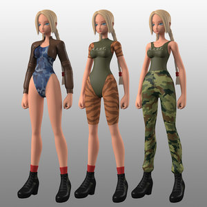 original girl army mbe02 3d model