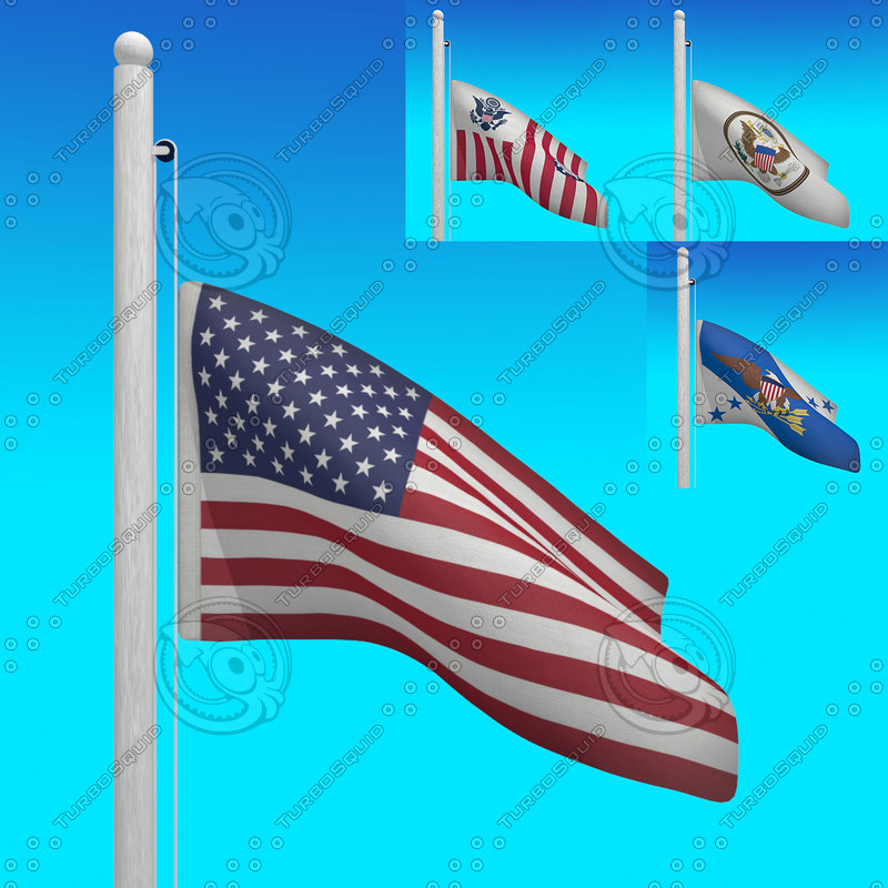3d max flags usa - loop