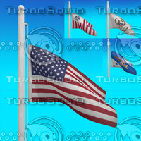 3d model of flags usa - loop
