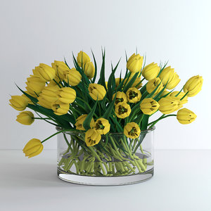 vase yellow tulips flowers 3d model