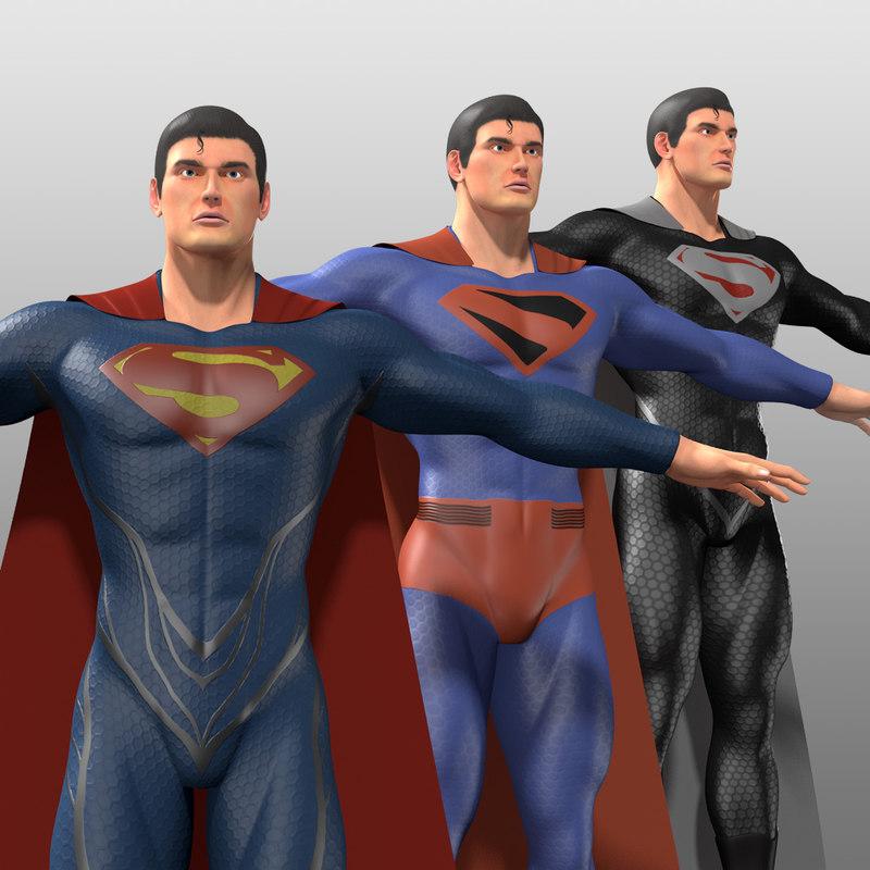 original superman costumes man 3d model