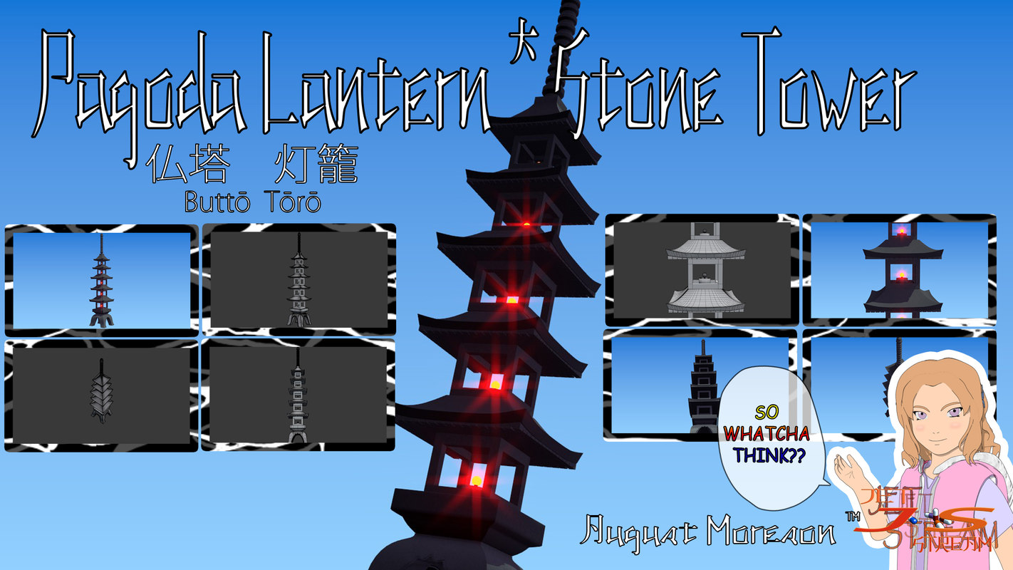 pagoda temple tower lantern 3d dxf
