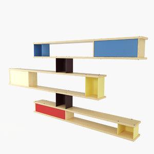 3d model wall shelf charlotte perriand