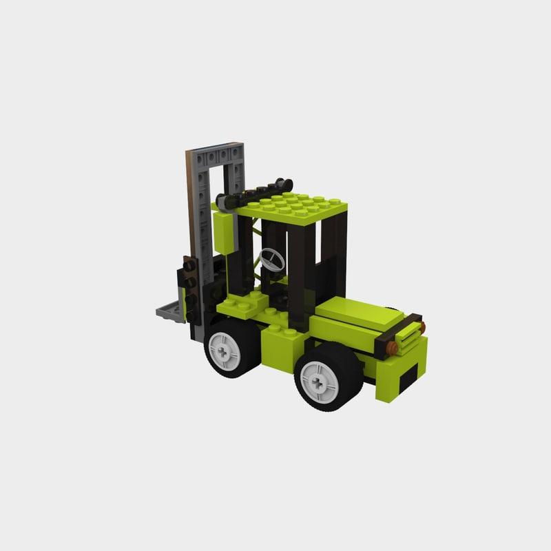 3d lego forklift truck