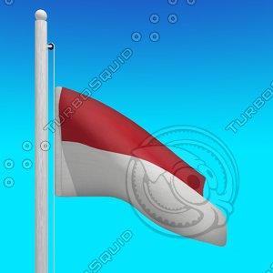 3d flags indonesia - loop model