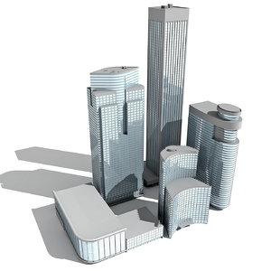 5 buildings 3d model
