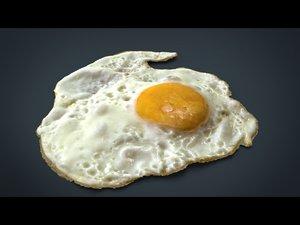 hd fried egg 3d obj