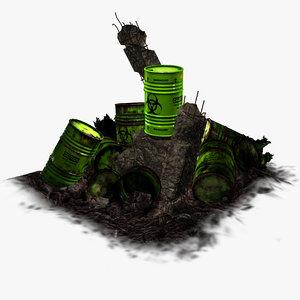 3d model barrel toxic waste -