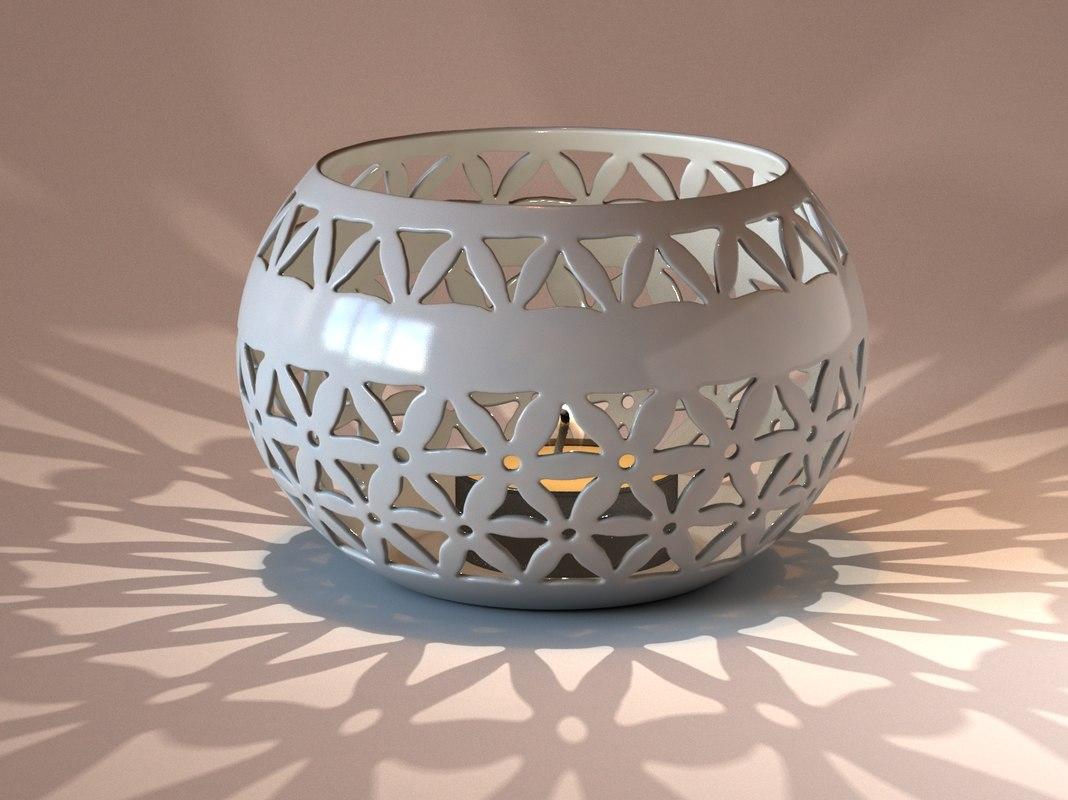 ceramic bowl tealight 3d model