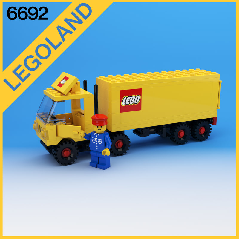 free obj mode classic lego tractor trailer