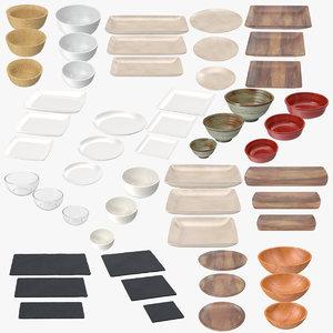 serving plates bowls 3d model