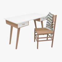 study table chair 3d model