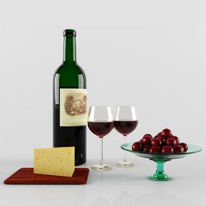 3d model grape wine bottle