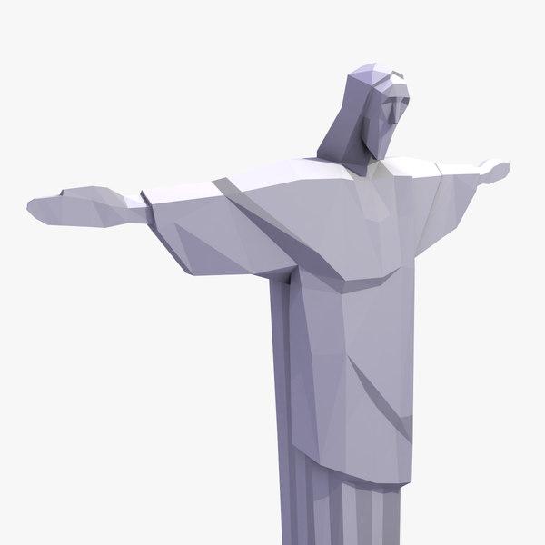 christ redeemer statue brazil 3d model