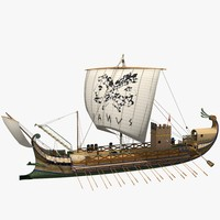 Roman Bireme Outside Lowpoly