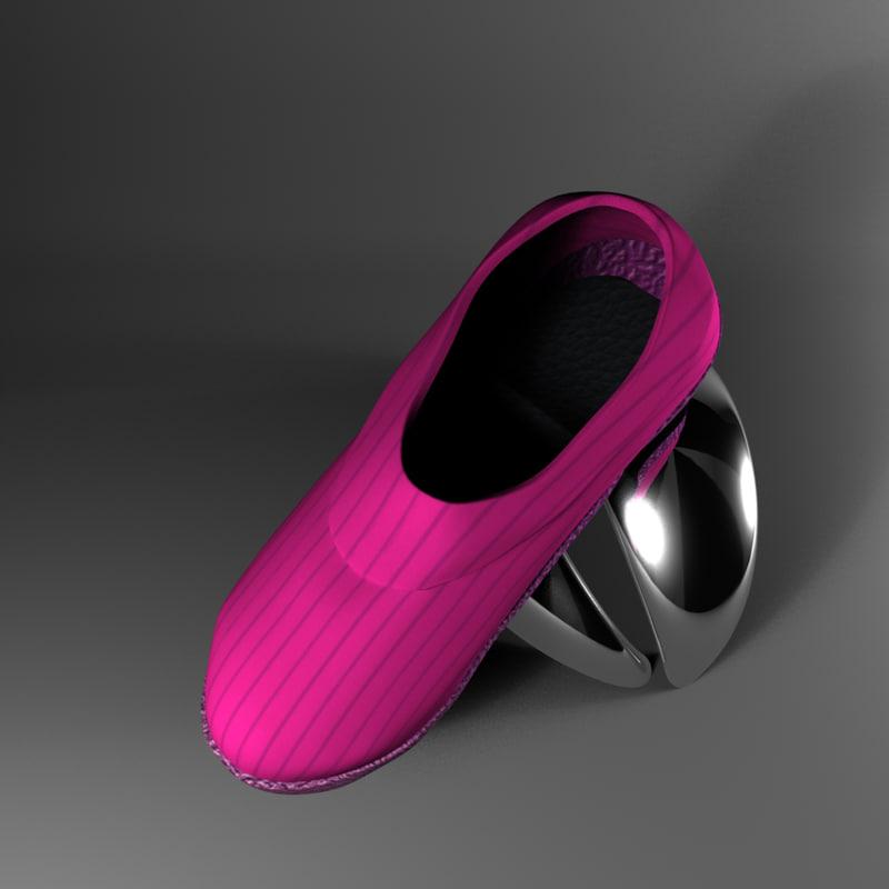 3d girl pink shoe model