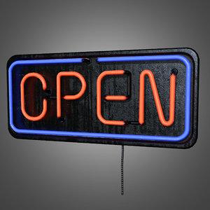 3d open neon sign -