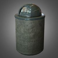 Outdoor Trash Can 2 - PBR Game Ready