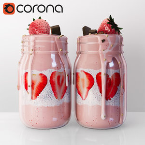 strawberry yogurt 3d max