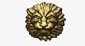 sculpture golden head lion 3d model
