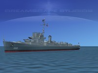 guns buckley class destroyer 3d model