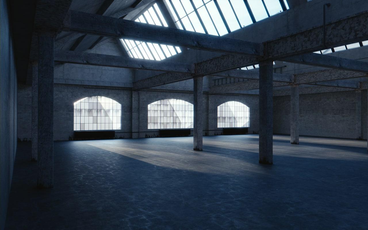 3d blend warehouse interior