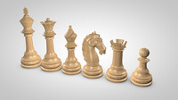 chess pieces set 3d model