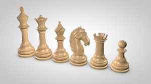 chess pieces set 3d model