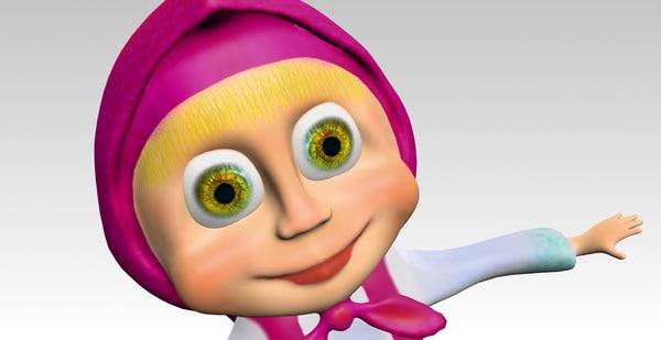 masha cartoon 3d model