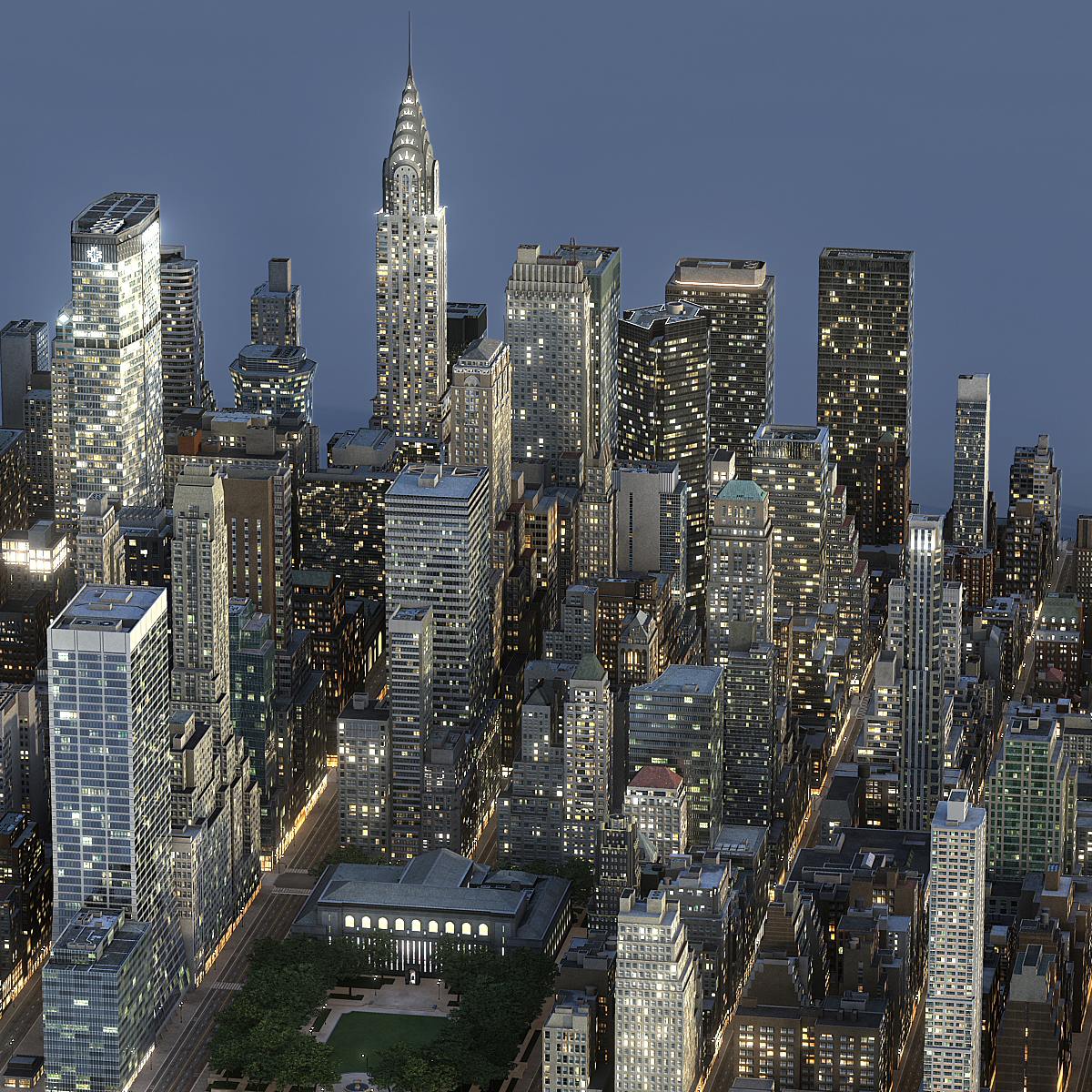 manhattan district block01 night 3d model