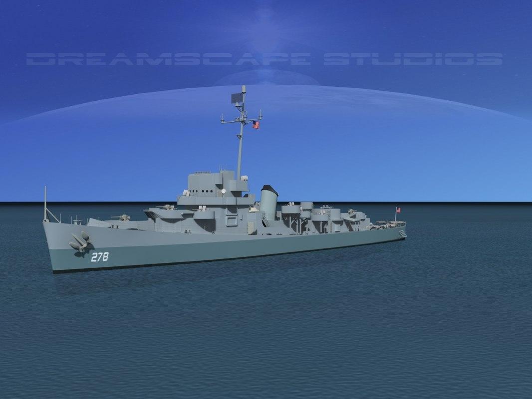 depth evarts class destroyer 3d model