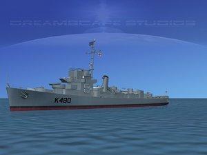 guns captains class frigate 3d model