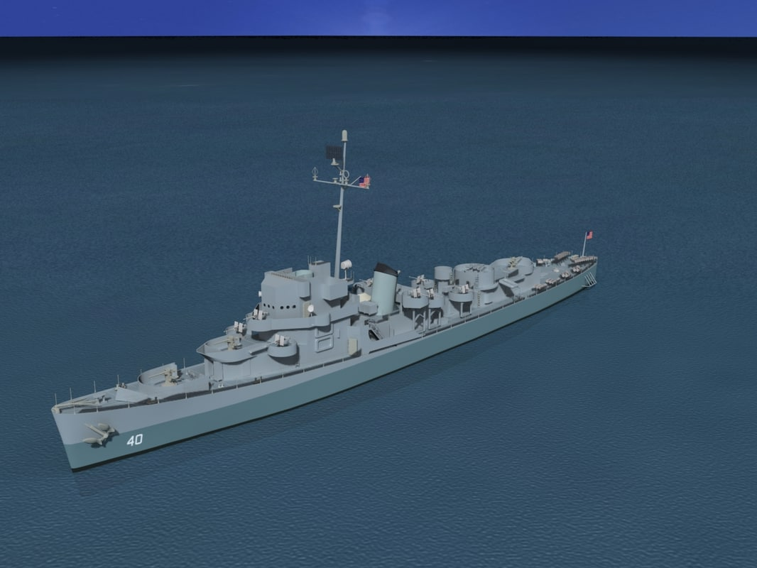 3d model depth 40 evarts class destroyer