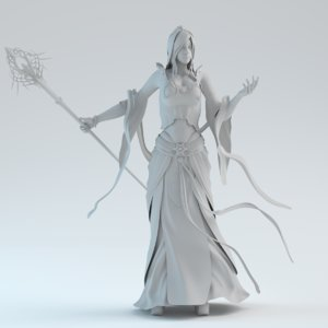3d model oriental magic woman