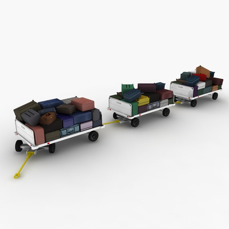 3d clyde baggage carts loaded model