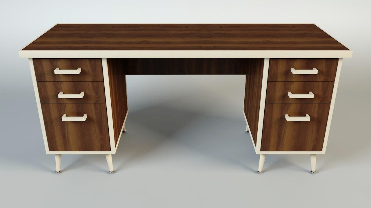 wooden office desk 3d model